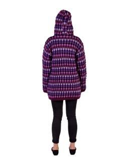 Predĺžený vlnený sveter s kapucňou a vreckami, fialový