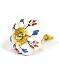 Maľované porcelánové madlo na šuflík, biely dekor, prům.5cm
