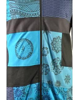 Patchworkový kabát s zapínaný na zips, kombinácia výtlačkov, tyrkysovo-šedo-zelená