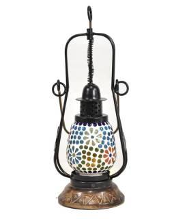 Mozaiková lampáš na sviečku, multifarebná, sklo, ručné práce, 12x12x32cm