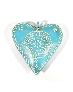 Závesná dekorácia - tyrkysové ručne maľované srdce, kov, 11x3x11cm