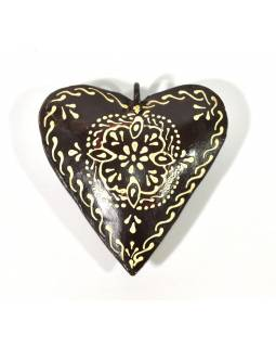 Závesná dekorácia - čierne ručne maľované srdce, kov, 10x3x10cm