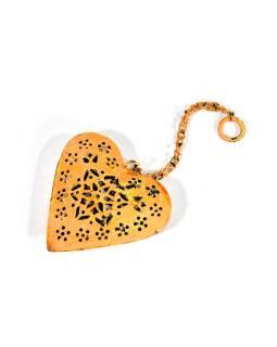 Závesná dekorácia - ručne maľované oranžové srdca, kov, 11x3x12cm