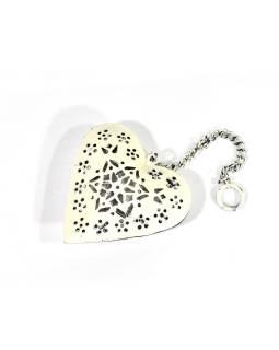 Závesná dekorácia - ručne maľované biele srdce, kov, 11x3x12cm