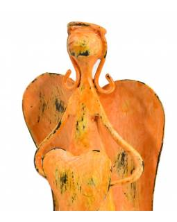 Kovová soška anjela, oranžová, 9x7x18cm