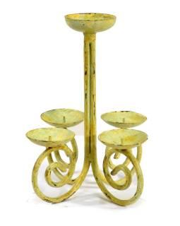 Stolný svietnik, žlto zelená patina, 19x19x20cm