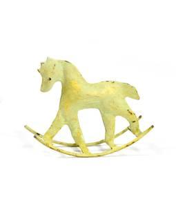 Kovová soška koníka, zeleno žltá patina, 14x4x11cm