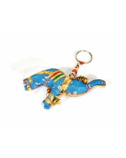 Prívesok na kľúče slon sa zvončekom, modrý, 9x6cm