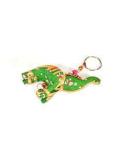Prívesok na kľúče slon sa zvončekom, zelený, 9x6cm