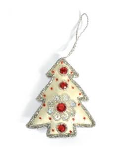 Ručne vyrábaná vianočná ozdoba stromček, biela, zdobená, 11x9cm
