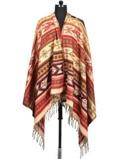 Veľký zimné šál s geometrickým vzorom, červená, 205x95cm