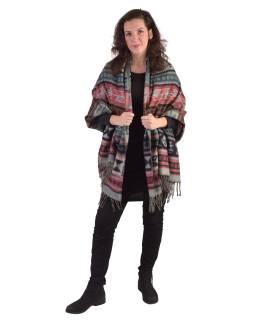 Veľký zimné šál s geometrickým vzorom, šedo-čierna, 205x95cm