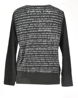 Pánske čierne tričko s dlhým rukávom a potlačou Mantra