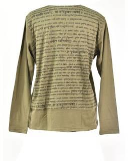Pánske khaki tričko s dlhým rukávom a potlačou Mantra