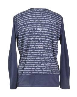 Pánske tmavo modré tričko s dlhým rukávom a potlačou Mantra