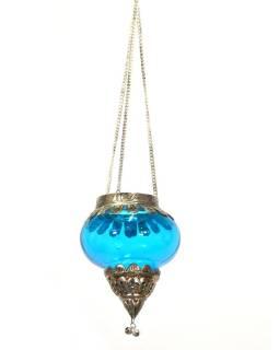 Závesný sklenený svietnik, tyrkysová, kovové zdobenie, 10x10x13cm