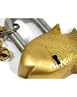 Mosadzný visiaci zámok ryba, 2 kľúče, 9,5x8cm