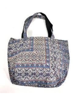 Veľká bavlnená taška s potlačou, block print, vrecko, cca 38x48cm