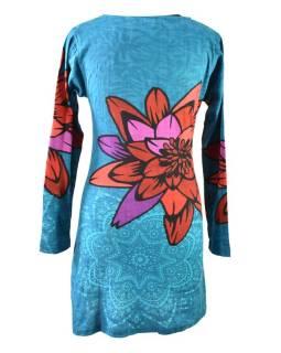 Tyrkysové šaty s dlhým rukávom a potlačou mandál,