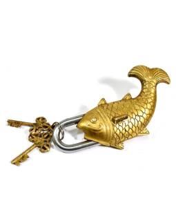 Visiaci zámok, veľká ryba, mosadz, dva kľúče v tvare Dorji, 19cm