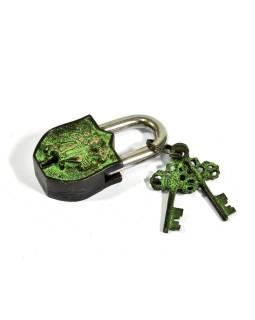 Visiaci zámok, Hanuman, zelená patina mosadz, dva kľúče v tvare Dorji, 9cm