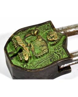 Visiaci zámok, Budha, zelená patina mosadz, dva kľúče v tvare Dorji, 9cm