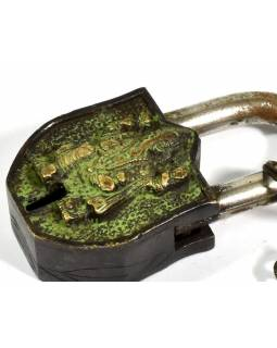 Visiaci zámok, Ganéša, zelená patina mosadz, dva kľúče v tvare Dorji, 9cm