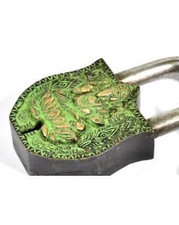 Visiaci zámok, Ganéša, zelená mosadz, dva kľúče v tvare Dorji, 11cm