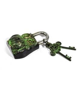 Visiaci zámok, Sova, zelená mosadz, dva kľúče v tvare Dorji, 12cm