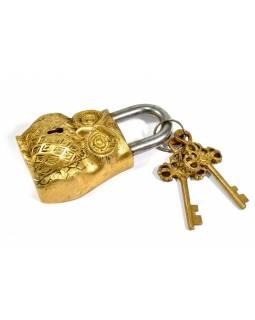 Visiaci zámok, Sova, zlatá mosadz, dva kľúče v tvare Dorji, 12cm