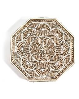 """Vyrezávané pečiatka """"Mandala"""", ručné práce, palisander, 18x18cm"""