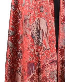 Veľká šál s motívom slonov so strapcami, červená, 70x210cm