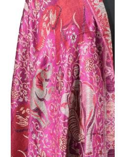Veľká šál s motívom slonov so strapcami, fialová, 70x210cm