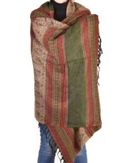 Veľký zimný šál so vzorom, khaki-červená, 205x95cm