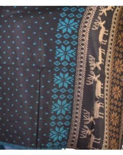 Veľký zimný šál so vzorom jeleňov, čierno-tyrkysová, 205x95cm