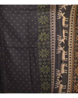 Veľký zimný šál so vzorom jeleňov, čierno-khaki, 205x95cm