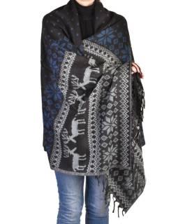 Veľký zimný šál so vzorom jeleňov, čierno-modrá, 205x95cm