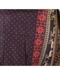 Veľký zimný šál so vzorom jeleňov, čierno-červená, 205x95cm
