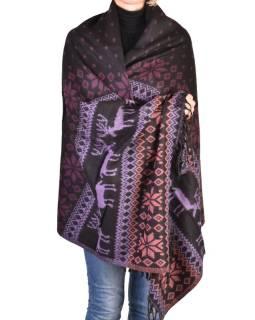 Veľký zimný šál so vzorom jeleňov, čierno-fialová, 205x95cm