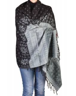 Veľký zimný šál so vzorom jeleňov, čierno-šedá, 205x95cm