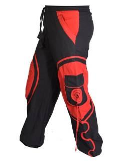 Unisex balónové nohavice s aplikáciou špirály a vreckami, čierno-červené