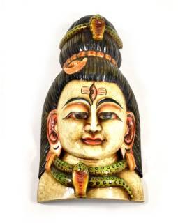 Drevená maska, Shiva, ručne maľovaná, 18x35cm