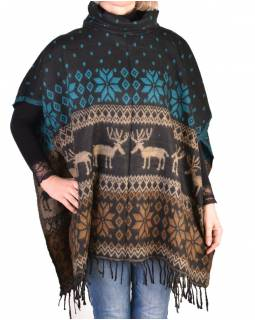 Pončo s golierom a strapcami, vzor jelene, čierno-tyrkys, univerzálna veľkosť