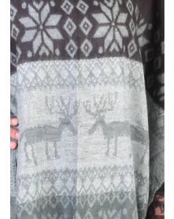 Pončo s golierom a strapcami, vzor jelene, čierno-šedá, univerzálna veľkosť