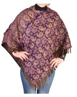 Pončo s kapucňou a strapcami, vzor paisley, fialová, univerzálna veľkosť