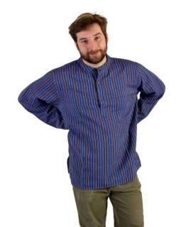Pruhovaná pánska košeľa-kurta s dlhým rukávom a vreckom, fialová