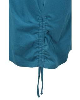 Krátka modrá sukňa s potlačou a sťahovacou šnúrkou, pružný pás