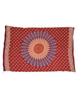 """Vínový sarong s ručným tlačou, """"Naptal"""" dizajn, 110x170cm"""
