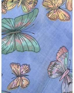 Šatka s motívom motýľov a strapcami, modrofialový, 180x75cm