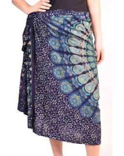"""Sarong s ručným tlačou, modrý, """"Naptal"""" dizajn, 110x170cm"""